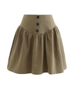 Button Trim High-Waisted Mini Skirt in Khaki