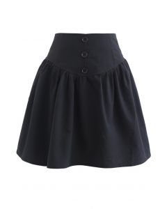 Button Trim High-Waisted Mini Skirt in Black