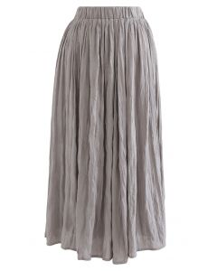 Lightweight Pleated Chiffon Skirt in Mauve