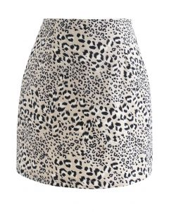 Leopard Print Bud Mini Skirt