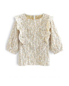 Embroidered Floret Mesh Top in Mustard