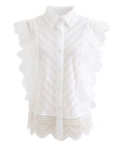 Wavy Lace Eyelet Embroidered Sleeveless Shirt in White