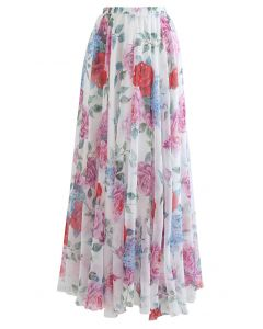 Romantic Moment Rose Print Maxi Skirt