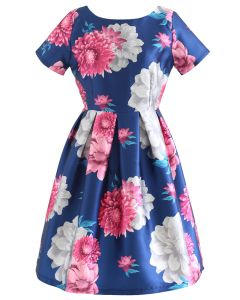 Splendid Flower Short-Sleeve Pleated Dress