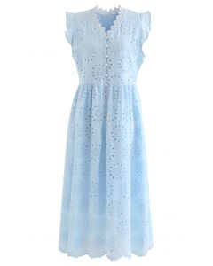 Allover Eyelet Embroidery Buttoned Sleeveless Dress in Blue