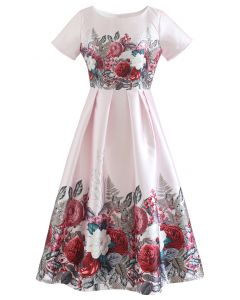 Flourishing Flower Short-Sleeve Pleated Dress