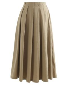 Cotton A-Line Pleated Midi Skirt in Khaki