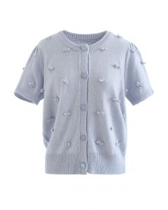 Sweet Knot Short Sleeve Buttoned Knit Cardigan in Baby Blue