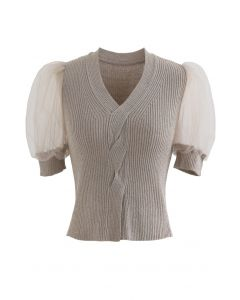 Meshed Short Sleeves Cropped Knit Top in Taupe