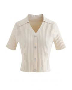 Button Down Collared Crop Top in Cream