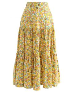 Yellow Floret Frilling Cotton Skirt