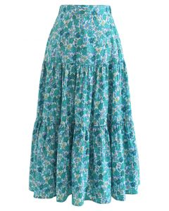 Green Floret Frilling Cotton Skirt
