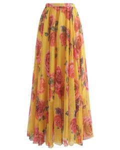 Splendid Rose Chiffon Maxi Skirt