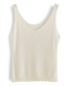V-Neck Scrolled Edge Tank Top