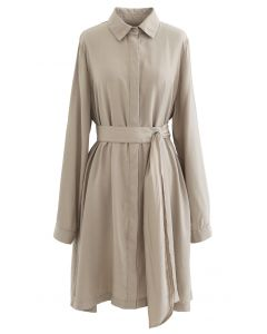 Refined Sash Button Down Shirt Dress in Tan