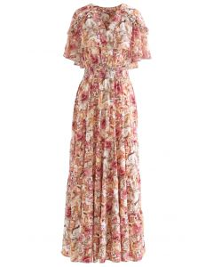 Floral Flap Shoulder Sleeveless Maxi Dress