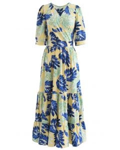 Tropical Leaves Wrapped Frilling Maxi Dress