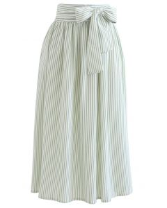 Embossed Stripes Bowknot Waist Midi Skirt