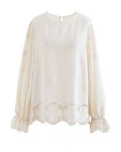 Puff Sleeves Embroidered Flower Cotton Shirt