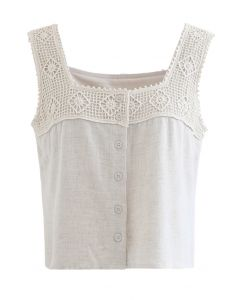 Crochet Diamond Buttoned Crop Tank Top in Linen