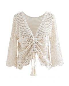 Delicacy Crochet Drawstring Smock Top