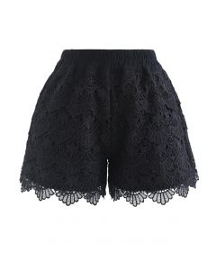 Scallop Crochet Overlay Shorts in Black