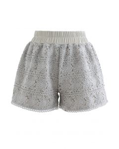 Sunflower Crochet Overlay Shorts in Pea Green