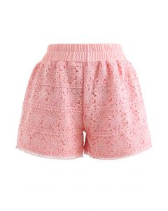 Sunflower Crochet Overlay Shorts in Peach
