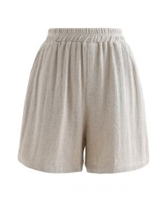 Elastic Waist Pockets Cotton Linen Shorts in Sand