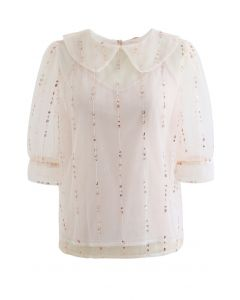 Peter-Pan Neck Tie Back Sequined Mesh Top in Pink