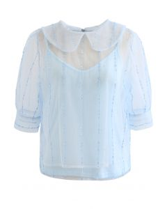 Peter-Pan Neck Tie Back Sequined Mesh Top in Blue