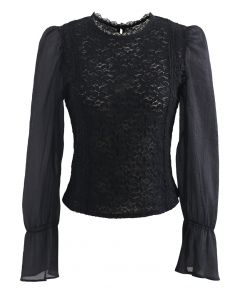 Blooming Sheer Sleeve Lace Top in Black