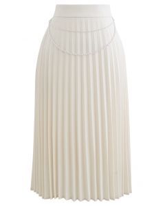 Draped Chain Pleated Midi Skirt in Cream