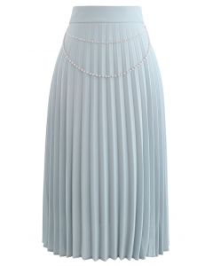Draped Chain Pleated Midi Skirt in Dusty Blue