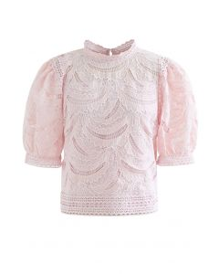 Leaves Shadow Embroidered Crochet Top in Pink