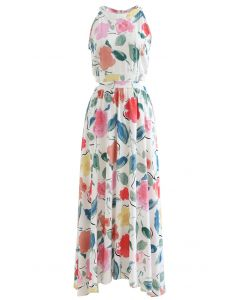 Summer Fun Painted Halter Neck Maxi Dress