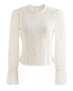 Blooming Sheer Sleeve Lace Top in Cream