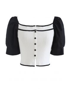 Puff Short Sleeves Buttoned Crop Knit Top in White