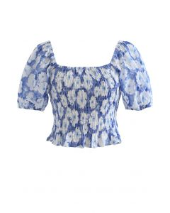 Embossed Floral Shirred Crop Top in Blue