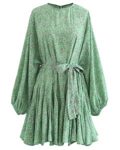 Green Floret Bubble Sleeves Frilling Dress