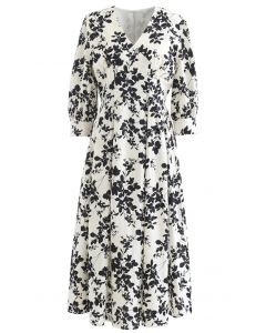 V-Neck Pleated Leaves Print Midi Dress in Ivory
