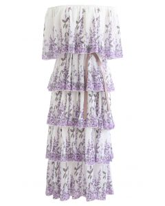 Lavender Printed Pleated Off-Shoulder Tiered Dress in White