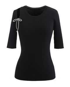 Shoulder Cutout Bowknot Rib Knit Top in Black