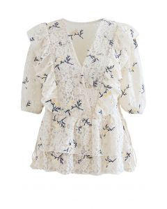 Side String Floral Ruffle Lace Top in Cream