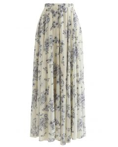 Sketch Peony Chiffon Maxi Skirt in Light Yellow