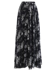 Sketch Peony Chiffon Maxi Skirt in Black