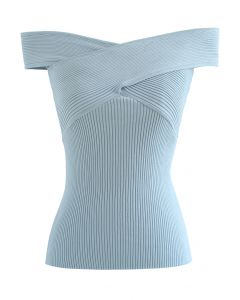 Crisscross Ribbed Sleeveless Knit Top in Blue