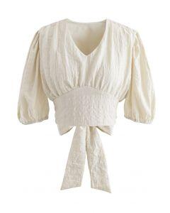 Plaid Jacquard V-Neck Tie Waist Crop Top in Cream
