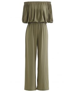 Off-Shoulder Cropped Top and Pants Set in Olive
