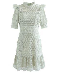 High Neck Full Crochet Mini Dress in Pistachio